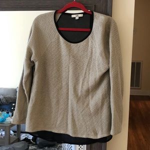 L Ya losangles thin tan sweater with mesh back